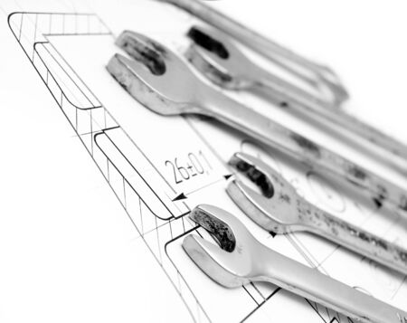 The drawing and wrenches  photo
