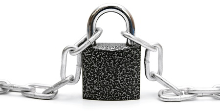locked up: Chain and the lock  On a white background