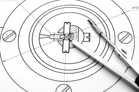 Compasses and the drawing  photo