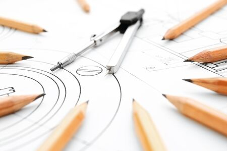 ure: Pencils, compasses on the drawing