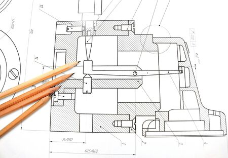 ure: The drawing and pencils  Stock Photo