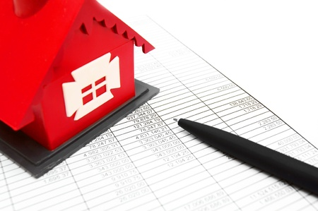 escrow: The toy house; the handle and documents  Stock Photo