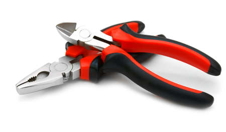 carpenter pincer: Nippers  On a white background  Stock Photo