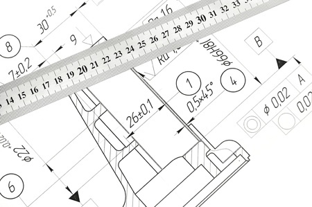 The drawing and ruler  Stock Photo
