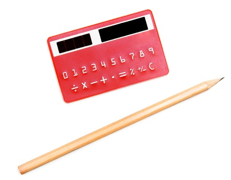 The calculator and pencil  On a white background  photo