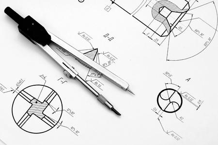 Kompasse und die Zeichnung Standard-Bild - 13806877