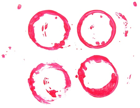 Red stains from cups  On a white background  photo