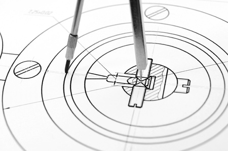 The drawing and compasses  Stock Photo