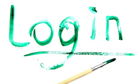 Inscription a green paint  Login   Stock Photo