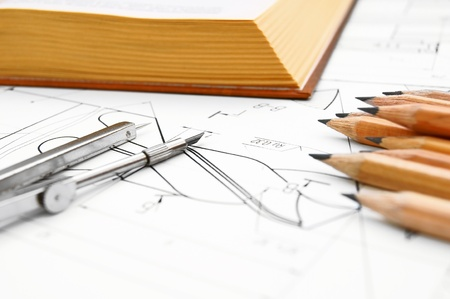 ure: The drawing, book and compasses  Stock Photo