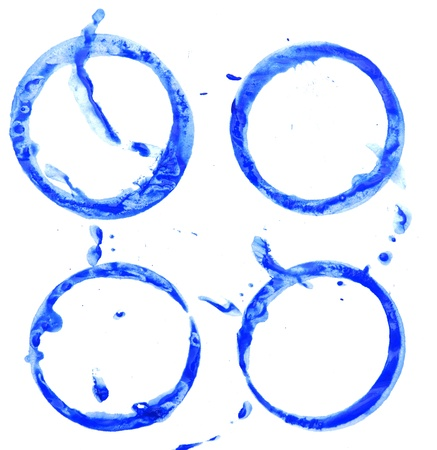 Dark blue stains from cups  On a white background Stock Photo - 13811023