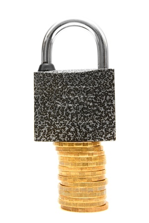 The lock and coins  On a white background  Stock Photo - 13810909