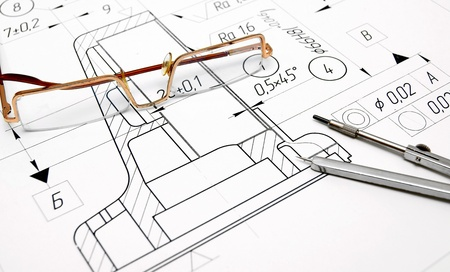 bluelines: The drawing, glasses and compasses  Stock Photo
