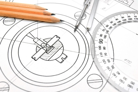 The drawing, pencils, ruler and compasses  photo