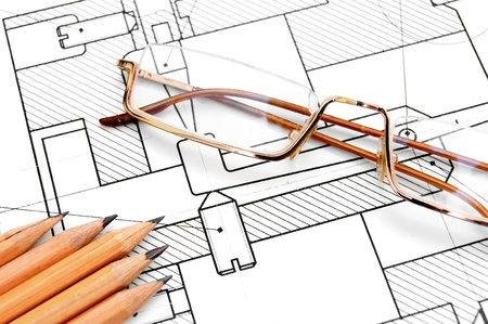 bluelines: The drawing, pencils and glasses  Stock Photo
