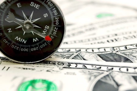metapher: Compass and money  Stock Photo