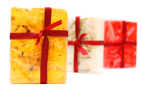 Multi-coloured soap  On a white background  Stock Photo - 13807383