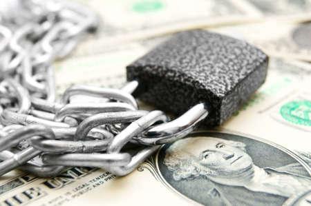 The lock, chain and money  photo
