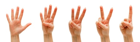 손, 손가락 및 숫자. 흰색 배경에. 입니다. 스톡 콘텐츠