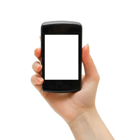 Phone in hand. Isolated on the white. Stock Photo - 13806809