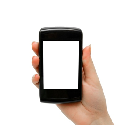 Phone in hand. Isolated on the white. Stock Photo - 13806811