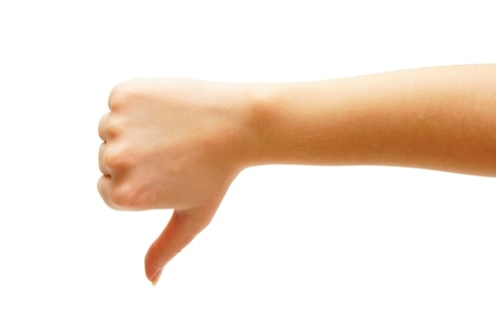 man's thumb: Hand, the big finger downwards. On a white background. Isolated.