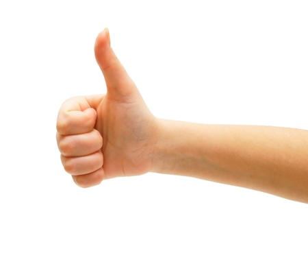 man's thumb: Hand, the big finger upwards. On a white background. Isolated.