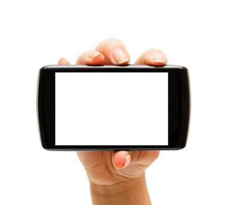 Phone and hand. Isolated on the white. photo