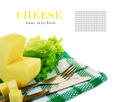Cheese, greens on a towel. On white background. There is place for your text. photo
