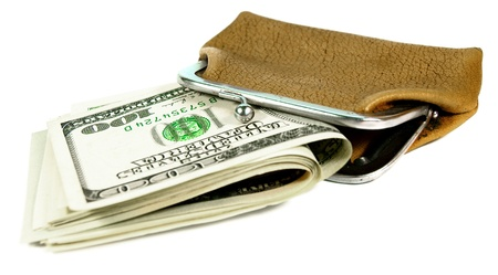 Purse and money. On white background. Stock Photo