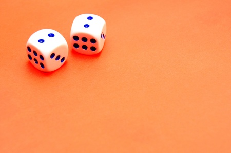Dices on a red background  photo