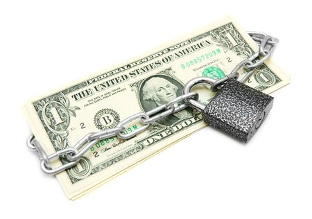 Money and the lock with a chain  On a white background Stock Photo - 14024505