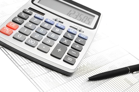 The calculator, pen and documents  Stock Photo