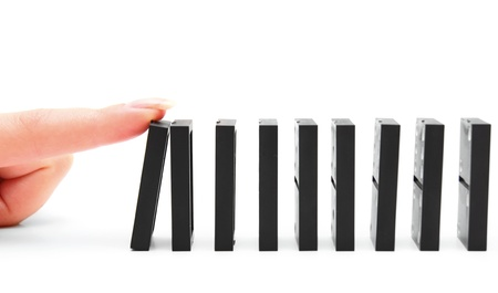 chain reaction: Domino effect. On a white background.