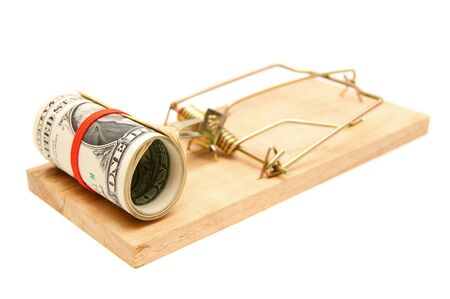 Money in a mousetrap. On a white background. Stock Photo - 14151894