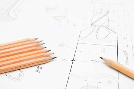 ure: The drawing and pencils . Stock Photo