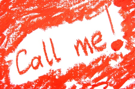 Inscription red lipstick. On a white background. photo