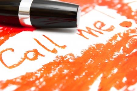 The inscription red lipstick . Stock Photo
