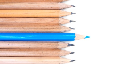 orderly: Pencils on a white background. Stock Photo