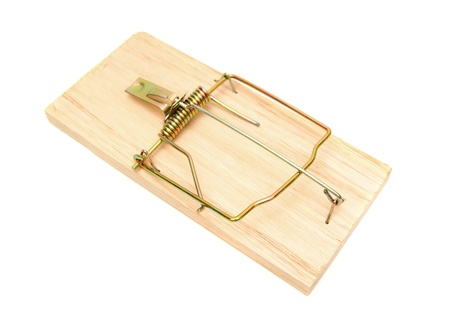 booby trap: Mousetrap. On a white background. Stock Photo