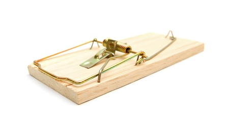 booby: Mousetrap. On a white background. Stock Photo