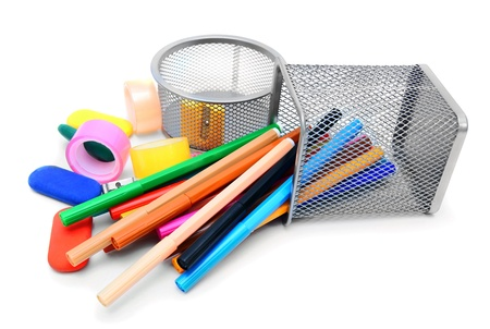 School accessories. On a white background. Stock Photo - 15498308