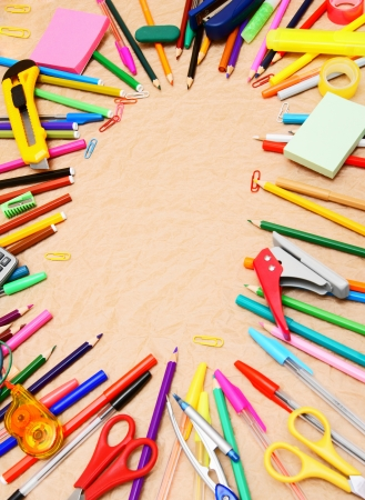 School tools on the rumpled paper. Back to school. Stock Photo - 15498385