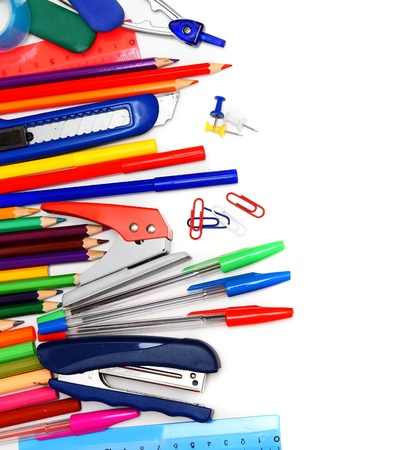 School accessories on a white background. photo