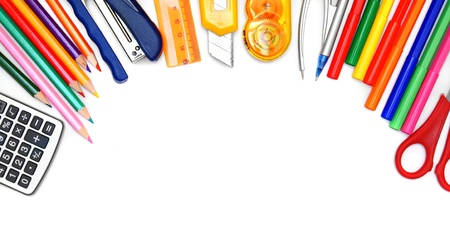 School tools on a white background. photo