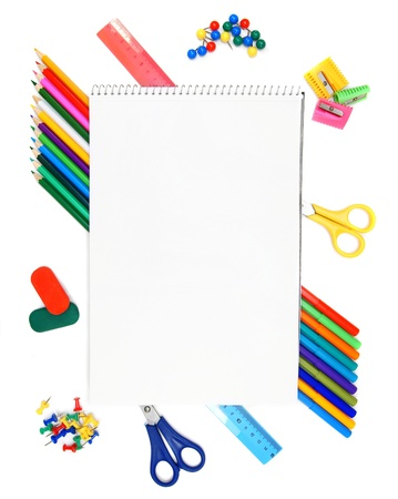 Back to school. The Stationery and a notebook. photo