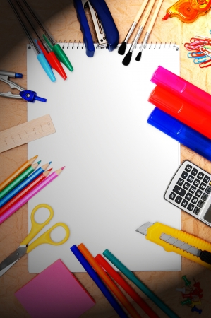 Back to school  School tools and a notebook  Stock Photo