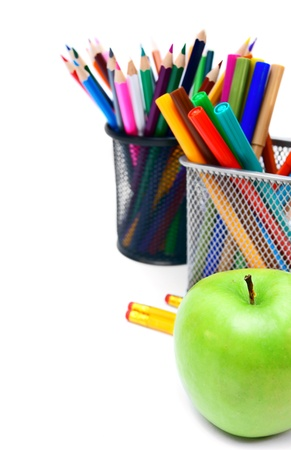 Back to school  School tools  On white background  photo