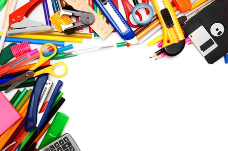 School accessories on white background  photo