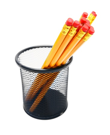 Pencils in a basket  On white background  Stock Photo - 15266590